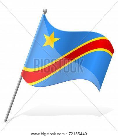Flag Of Democratic Republic Of Congo Vector Illustration