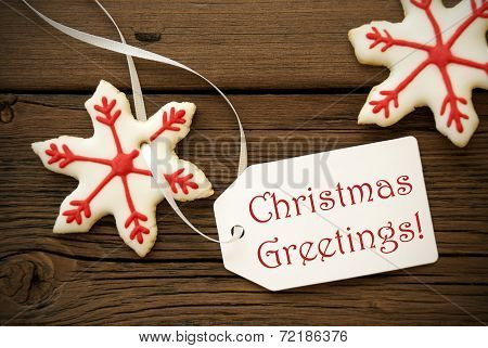 Christmas Greetings On A White Label