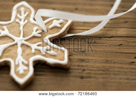 Decorated Ginger Bread On Wood With Copy Space