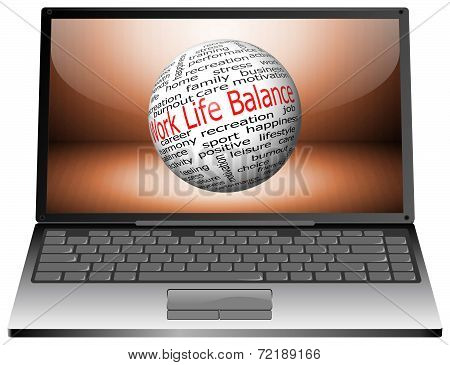 Laptop with Work Life Balance wordcloud