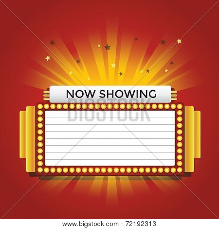 Now showing retro cinema neon sign vector