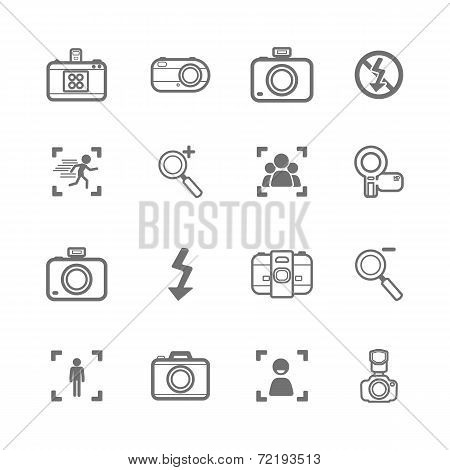 Mono Camera Icons And Menu Camera Icons  On  White Paper Set 2