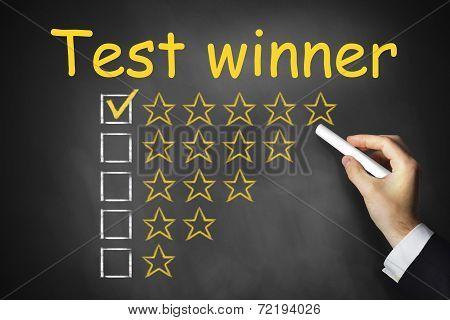 Hand Writing Test Winner On Chalkboard