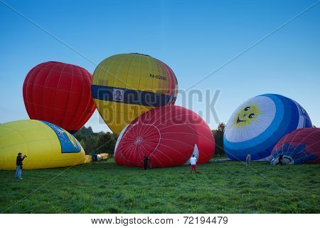 Bunch of colored distended balloons