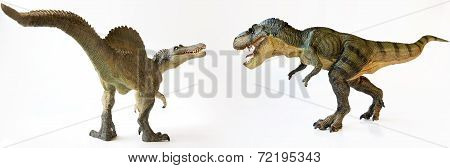 A T-rex Battles A Spinosaurus On White