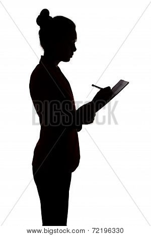 Business woman writing something