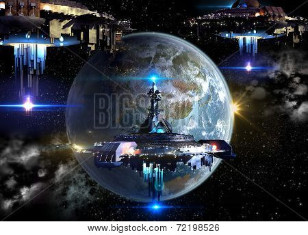 Alien spaceships invading Earth