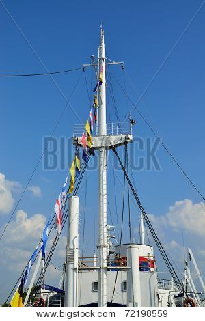 Superstructure Of Ship And Flags