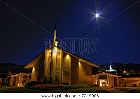Latter-day Saints Chapel and Bountiful Temple at Night