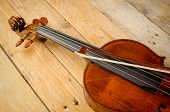 pic of viola  - Old viola and arch on a wooden background - JPG