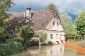 foto of flood  - Rural village houses in floodwater - JPG