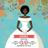image of mulatto  - Bridal shower invitation with falling autumn leaves  - JPG