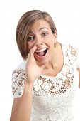 stock photo of babbler  - Pretty woman shouting with hand on mouth isolated on a white background - JPG
