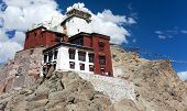 picture of jammu kashmir  - Namgyal Tsemo Gompa with prayer flags  - JPG