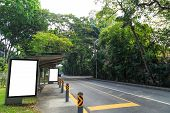 picture of bus-shelter  - remote location bus stop in green enviroment - JPG