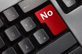 stock photo of no spamming  - grey keyboard red button no denial rejection - JPG