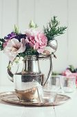 pic of paint pot  - Summer bouquet of purple and pink eustomas in an antique coffee pot on a white wooden board vintage style holiday and wedding elegant floral decor - JPG