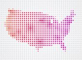 picture of usa map  - USA dot map made out of abstract dots - JPG