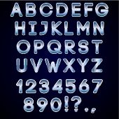 picture of symbol punctuation  - Vector bold chrome and blue neon alphabet letters - JPG