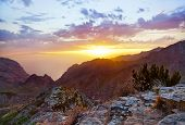 stock photo of canary  - Sunset in canyon Masca at Tenerife island  - JPG
