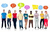 picture of thinkers pose  - Multiethnic people with colorful speech bubbles over white - JPG