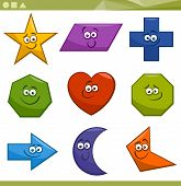 picture of parallelogram  - Cartoon Illustration of Basic Geometric Shapes Funny Characters for Children Education - JPG