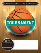 picture of basketball  - A basketball tournament template illustration featuring a basketball on a hardwood court - JPG