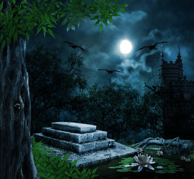 stock photo of tombstone  - Tombstone in celebration of Halloween on the background of the moonlit night - JPG
