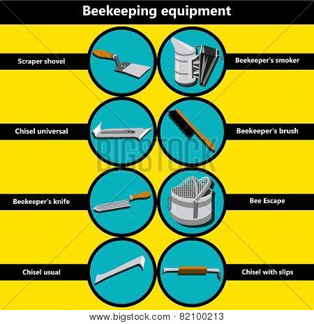 Information Poster Containing Beekeeping Equipment Made In A Flat Style