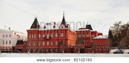 Red Brick Russian Revival Style State Bank In Orel, Russia, Panorama