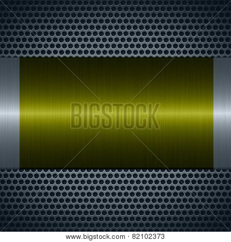 Olive metallic texture with holes metal plate background