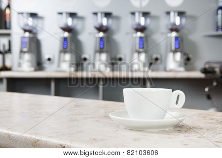 Cup Of Coffee On The Bar