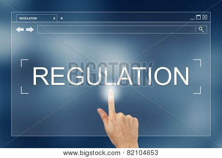 Hand Press On Regulation Button On Website