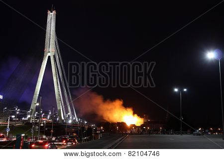 Riga, Latvia - June 21: Latvian President Palace And History Museum Caught On Fire On June 21, 2013