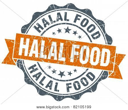 Halal Food Vintage Orange Seal Isolated On White