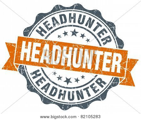 Headhunter Vintage Orange Seal Isolated On White