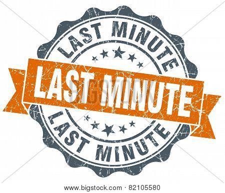 Last Minute Vintage Orange Seal Isolated On White