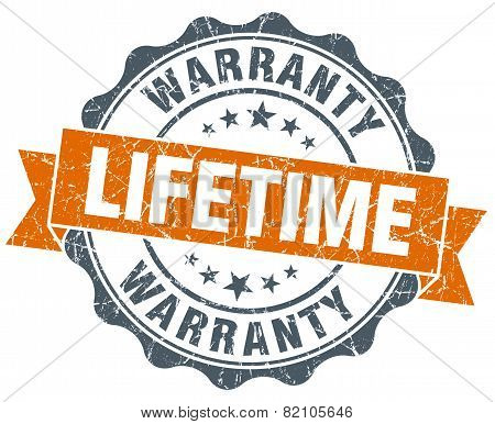 Lifetime Warranty Vintage Orange Seal Isolated On White