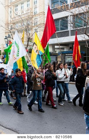 Manifestantes en Atenas centro