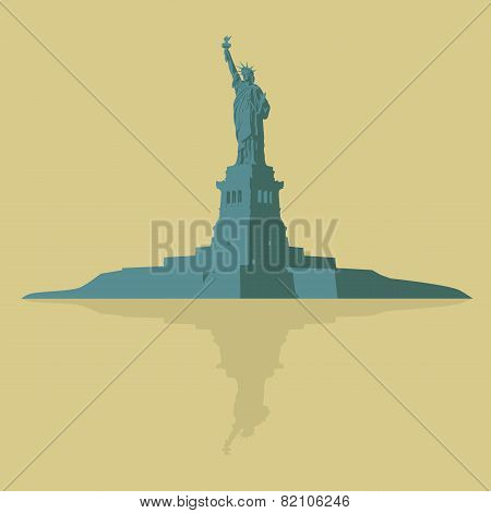 New York, The Statue Of Liberty On A Light Background.