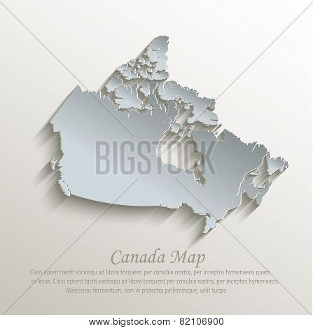 Canada map white blue card paper 3D vector