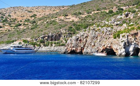Island in the Ionian Sea, Zakynthos. Azure coast of Greece. View of coast from the sea