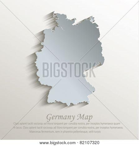 Germany map white blue card paper 3D vector