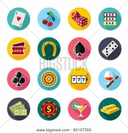 Colorful flat vector icons set. Quality design illustrations, elements and concept. Gambling icons,