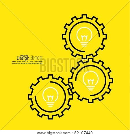 Gears symbol and Bulb light.