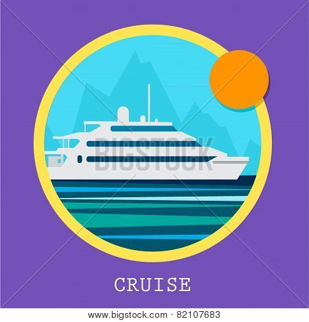 Cruise Ship vector Illustration. Retro styled white cruise ship