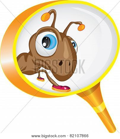 Curious ant looking through a magnifying glass