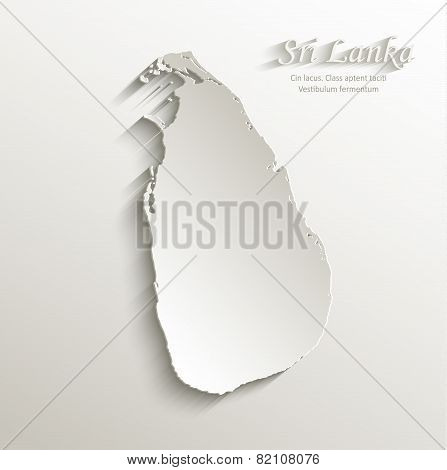 Sri Lanka map card paper 3D natural vector