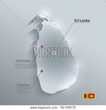 Sri Lanka map flag glass card paper 3D vector