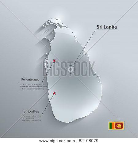 Sri Lanka map flag glass card paper 3D vector